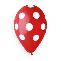 157 Red Polka Dots White Printed 5in 100